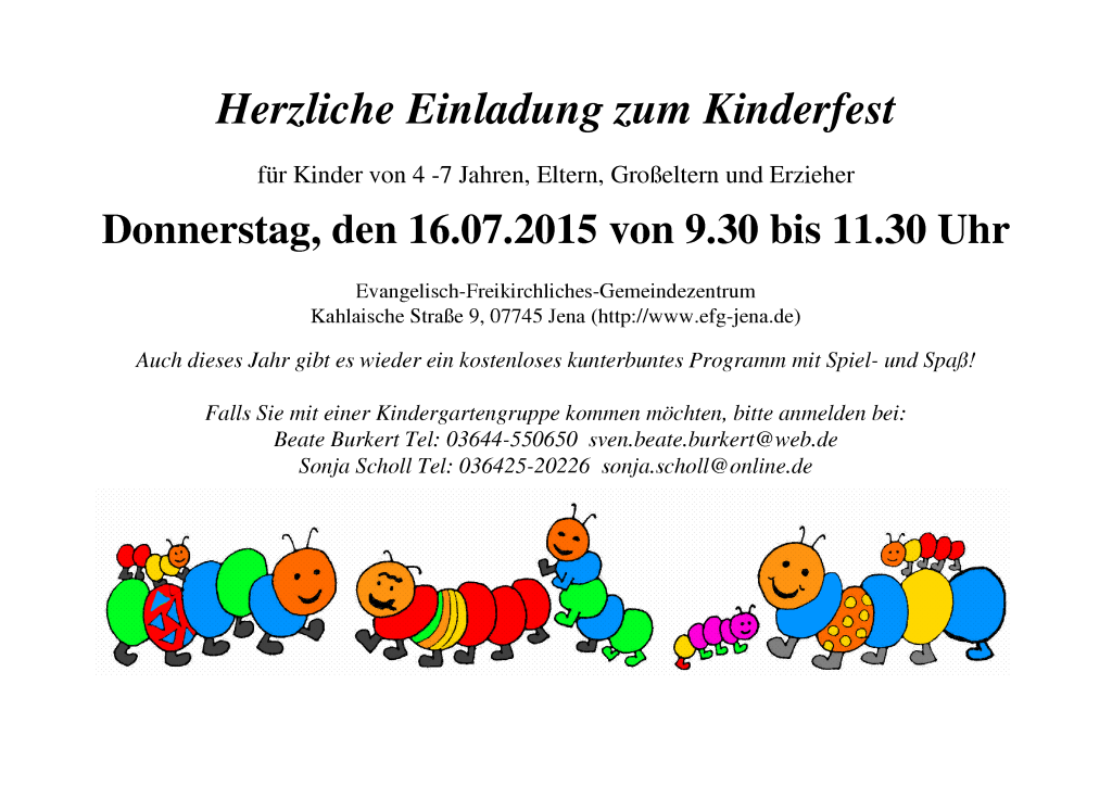 Kinderfest am 16.07.2015, 9.30 Uhr