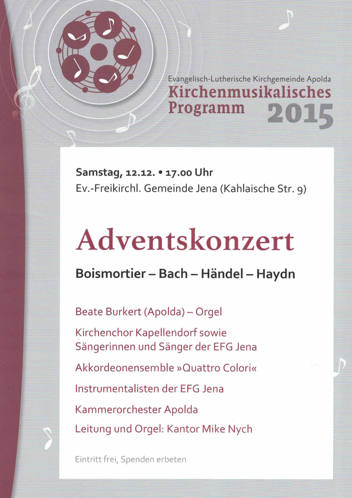 Adventskonzert am 12.12.2015, 17 Uhr