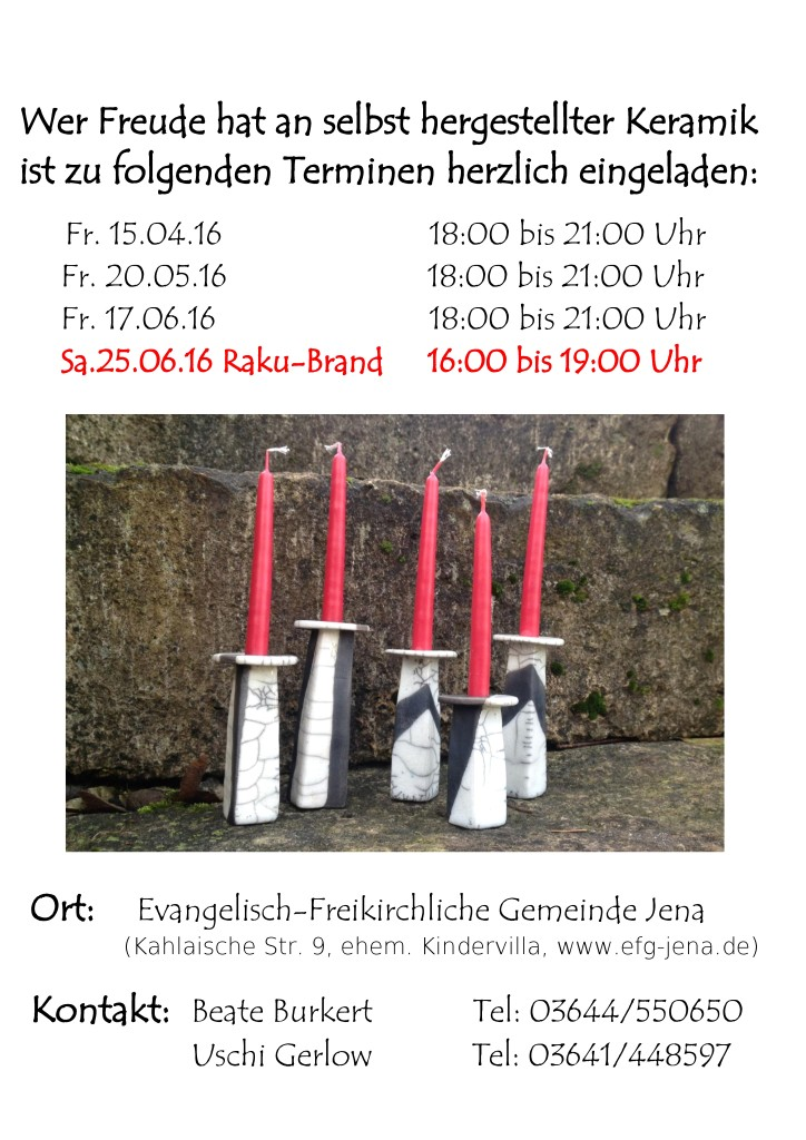 Keramik-Werkstatt: Termine Frühjahr 2016