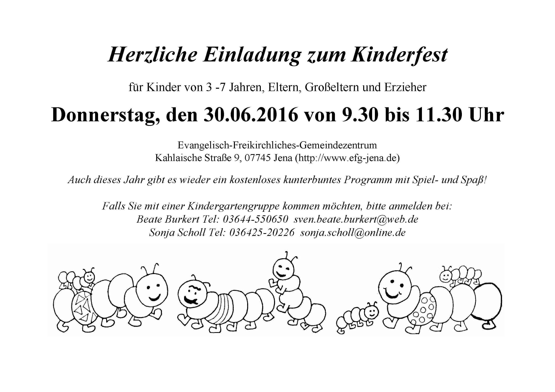 einladung zum kinderfest am 30. juni 2016 – efg jena, Einladungen