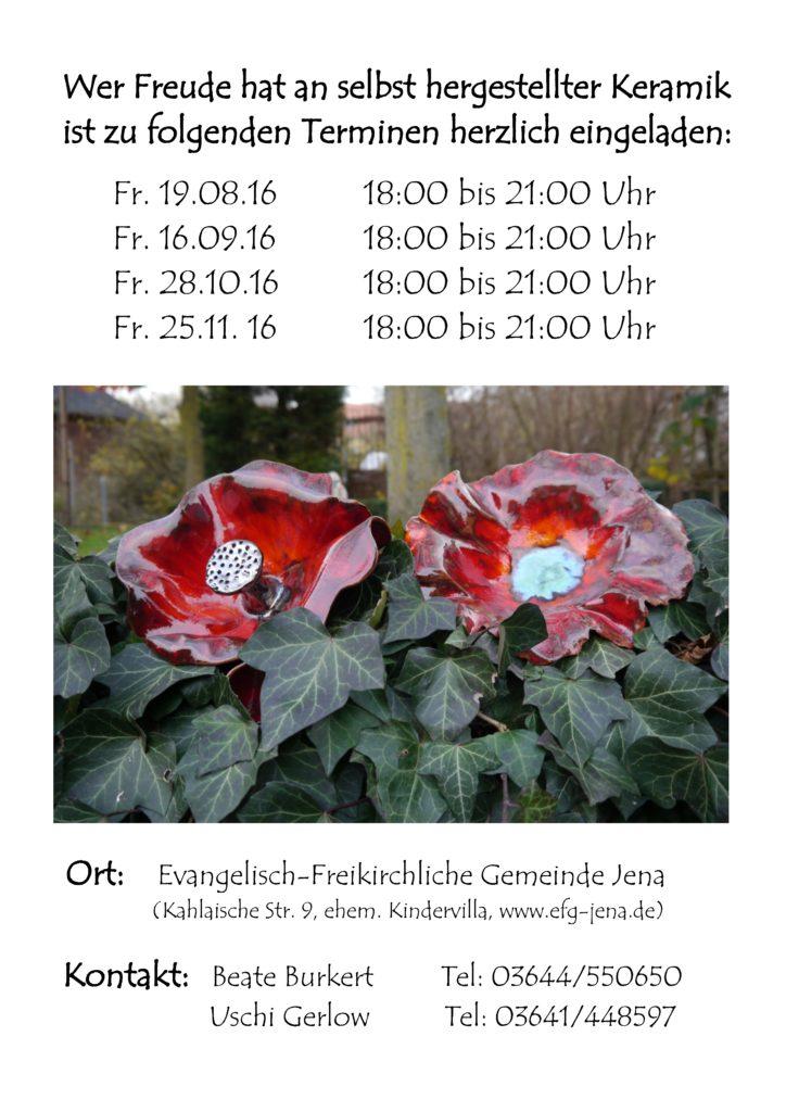 Keramik-Werkstatt: Termine Sommer/Herbst 2016