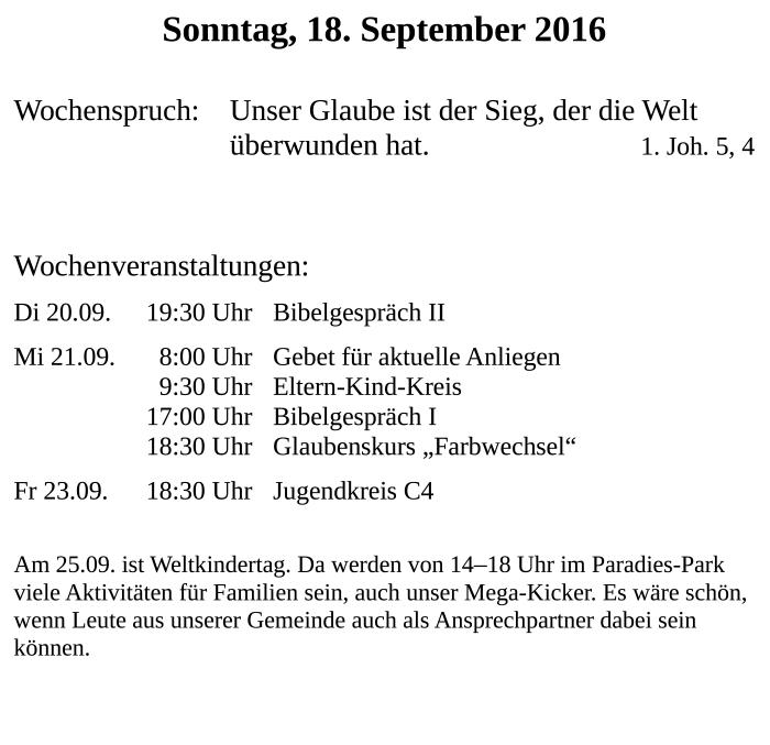 Infozettel zum 18.09.2016