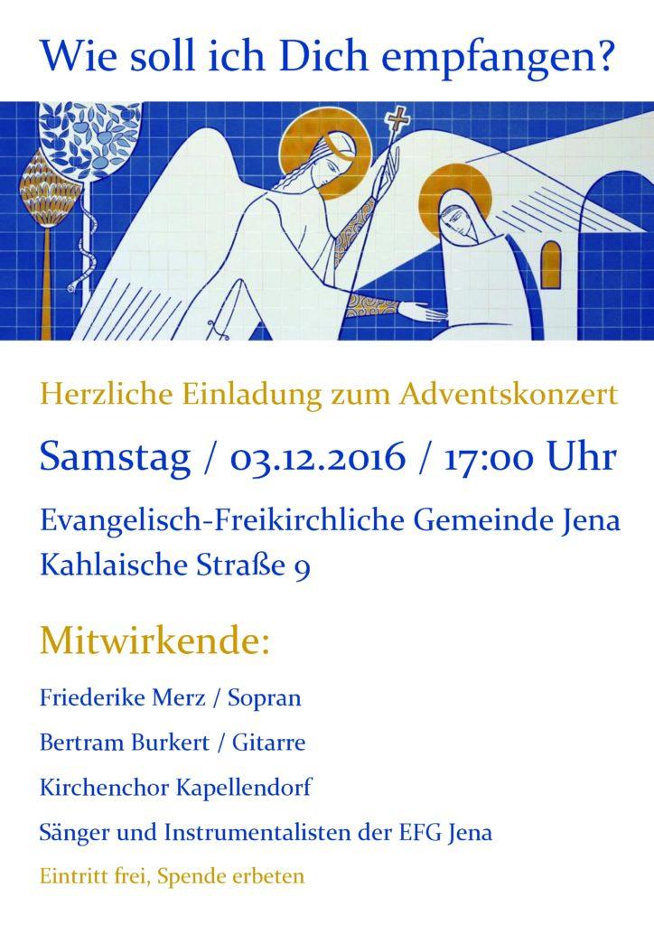 Einladung zum Adventskonzert am 3.12.2016, 17 Uhr