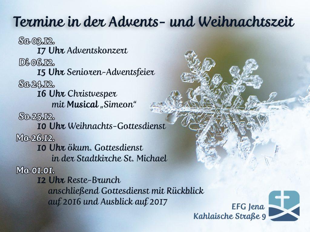 Veranstaltungen in Advent und Weihnachtszeit