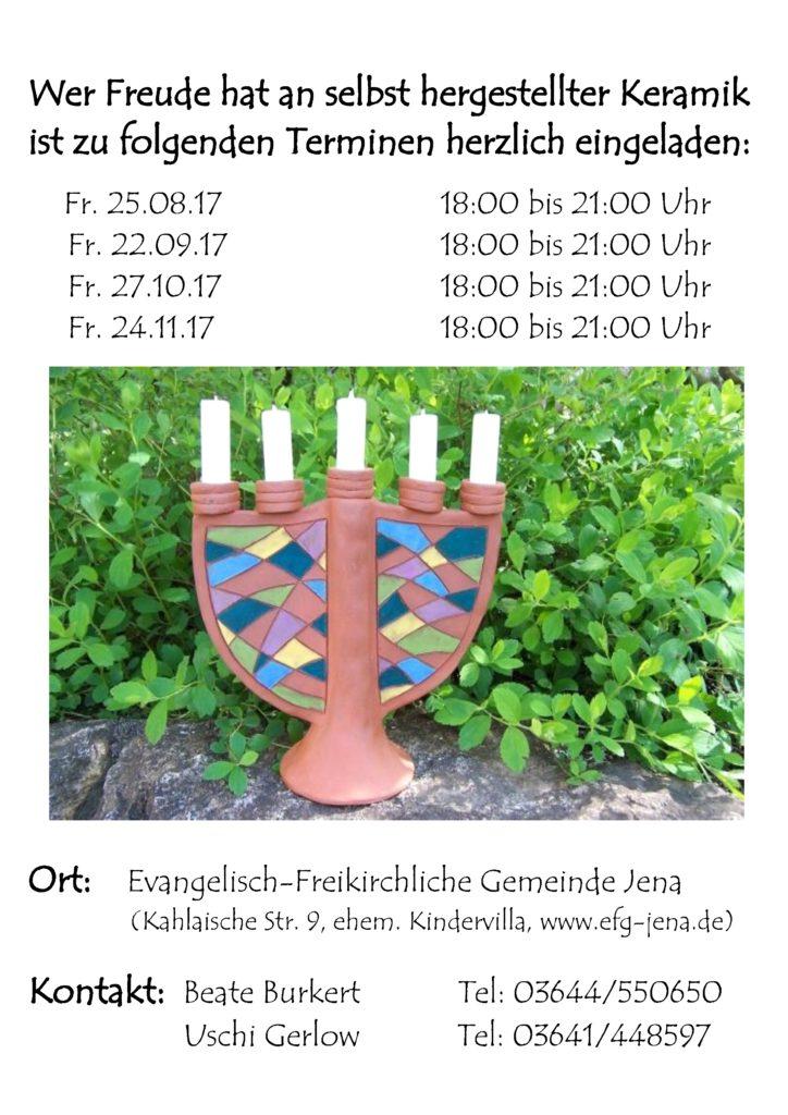 Keramik-Termine Sommer/Herbst 2017