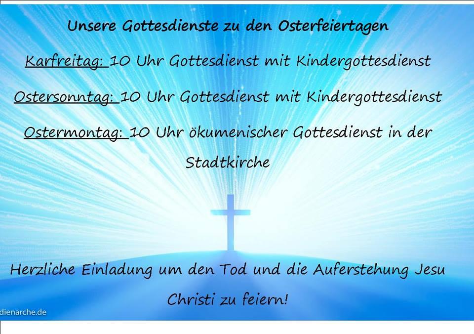 Einladung zu den Oster-Veranstaltungen