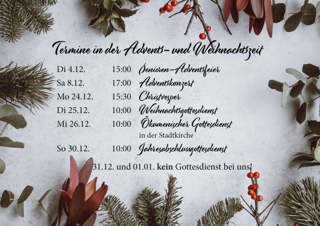 Veranstaltungen im Advent 2018