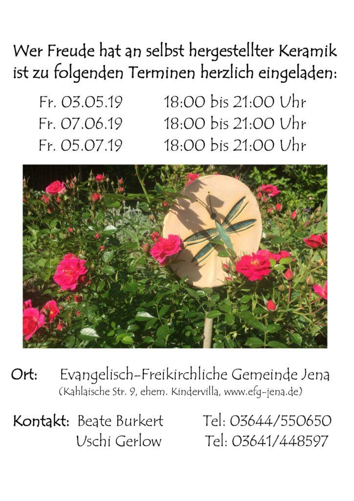 Keramiktermine Frühjahr/Sommer 2019