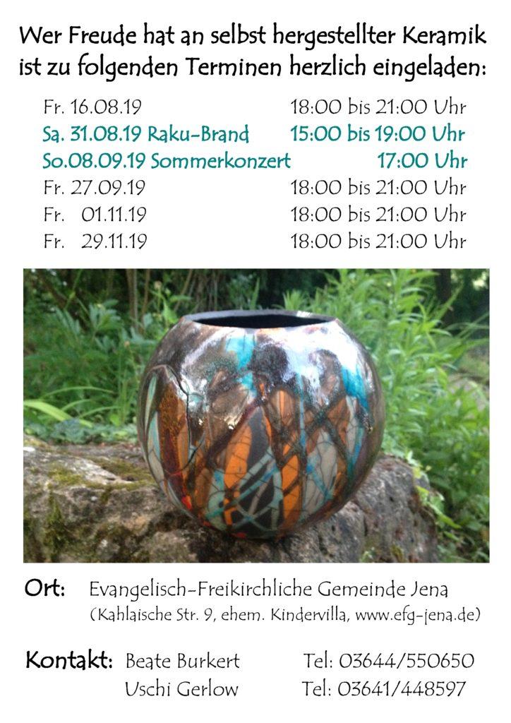 Keramik-Werkstatt Sommer/Herbst 2019