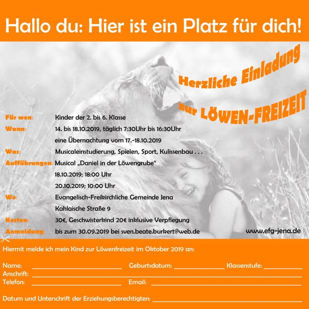 Einladung zur Ferien-Herbstfreizeit für Kinder (14.-18.10.19)