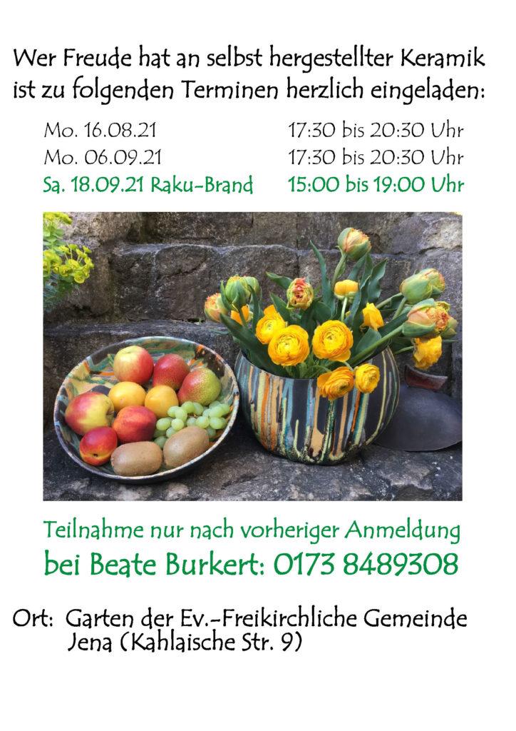 Keramik-Werkstatt: Termine im Sommer/Herbst 2021