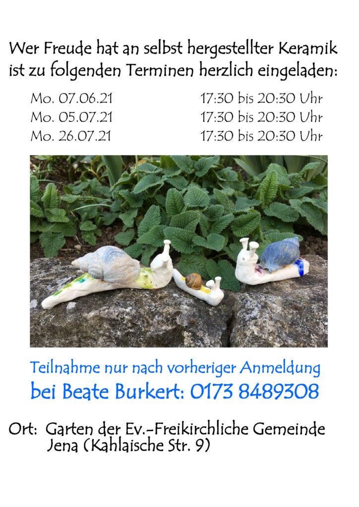 Keramik-Werkstatt: Termine im Frühjahr/Sommer 2021