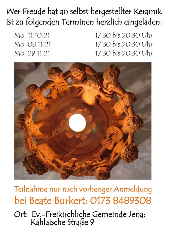 Keramik-Werkstatt: Termine im Herbst 2021